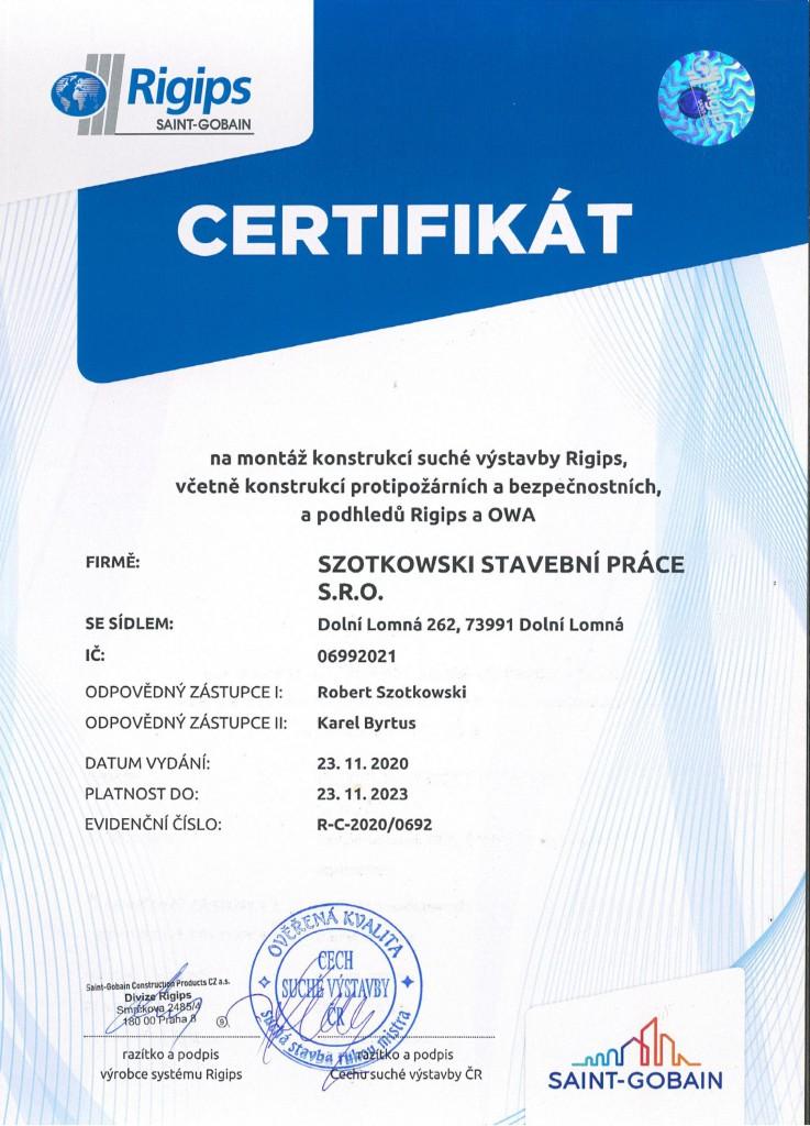 certifikat- Rigips